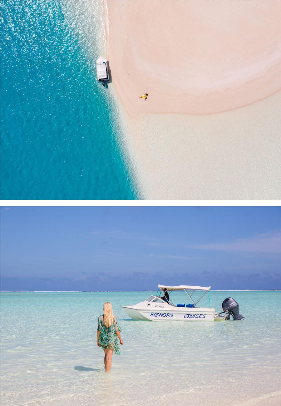 Sandbank Aitutaki  Luftansicht
