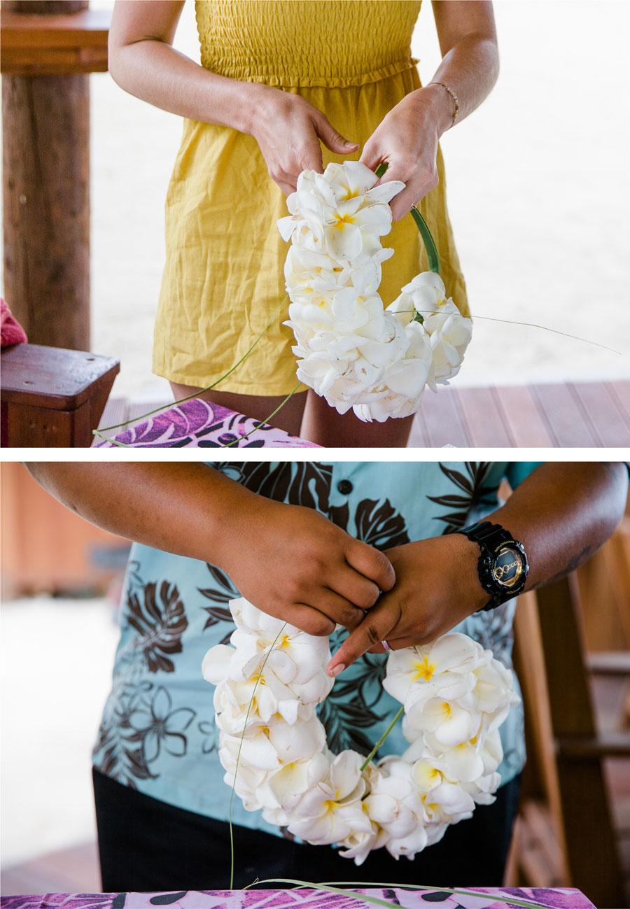 Blumenkranz binden auf Aitutaki
