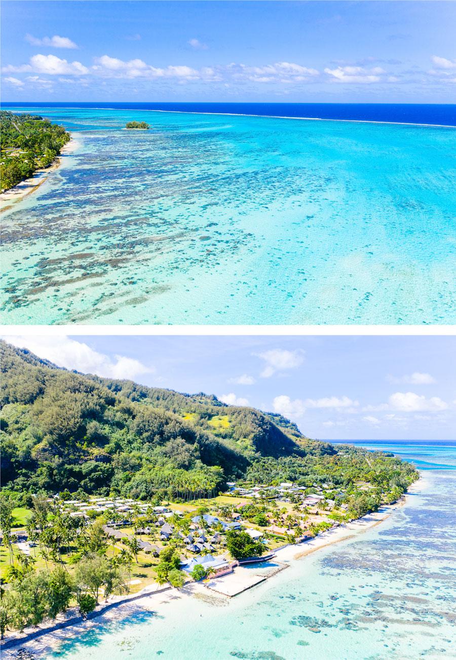 Flitterwochen - Hochzeitsreise  Moorea - Motu Tiahura - Motu Fareone | Luftansicht Hauru Public Beach
