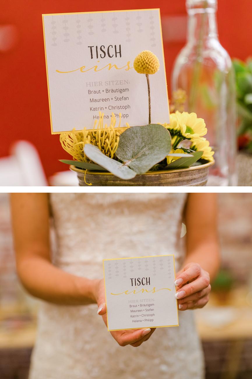 Grau & Gelb – Ein modernes Hochzeitskonzept